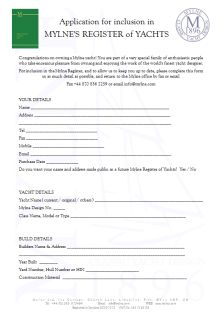 Mylne's Register of Yachts - Application Form